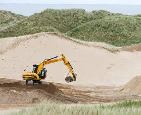 Donald Trump's golf resort under construction on the Menie estate